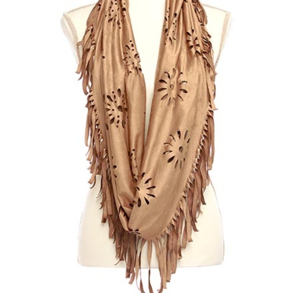 Accessories - BOHO TRENDY CUT OUT SUEDE CAMEL INFINITY SCARF